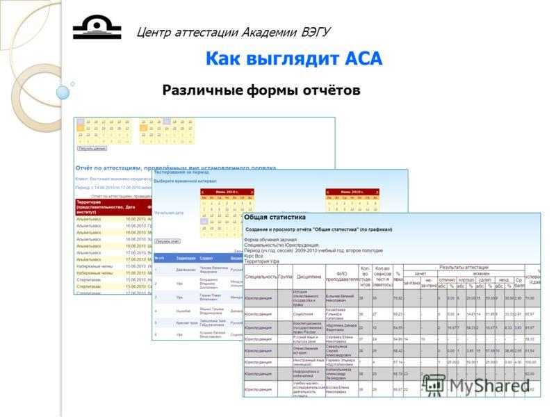 Центр аттестации Академии ВЭГУ Как выглядит АСА Различные формы отчётов