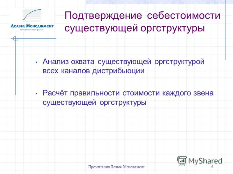 Презентация Дельта Менеджмент6 Подтверждение себестоимости существующей оргструктуры Анализ охвата существующей оргструктурой всех каналов дистрибьюции Расчёт правильности стоимости каждого звена существующей оргструктуры