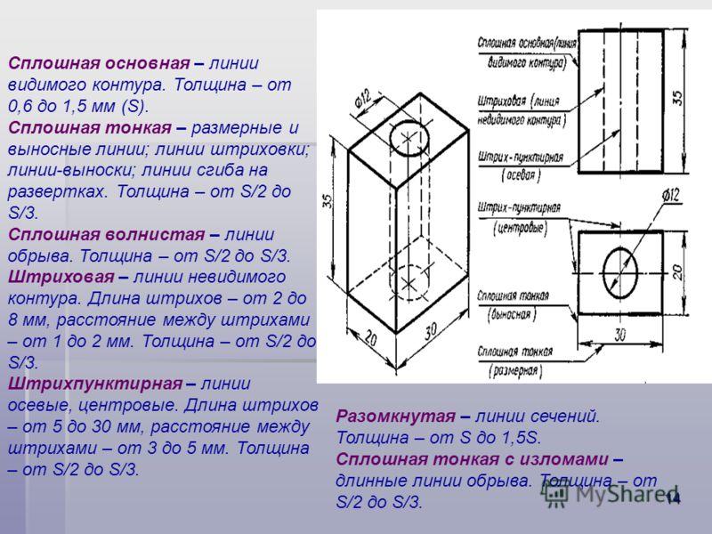 13 Форматы и масштабы Форматы - размеры листов чертежей и других конструкторских документов, установленные для всех отраслей промышленности и строительства ГОСТами. Основной формат – А0 (1189х841 мм) имеет площадь 1 м2. Этот формат путем последовател