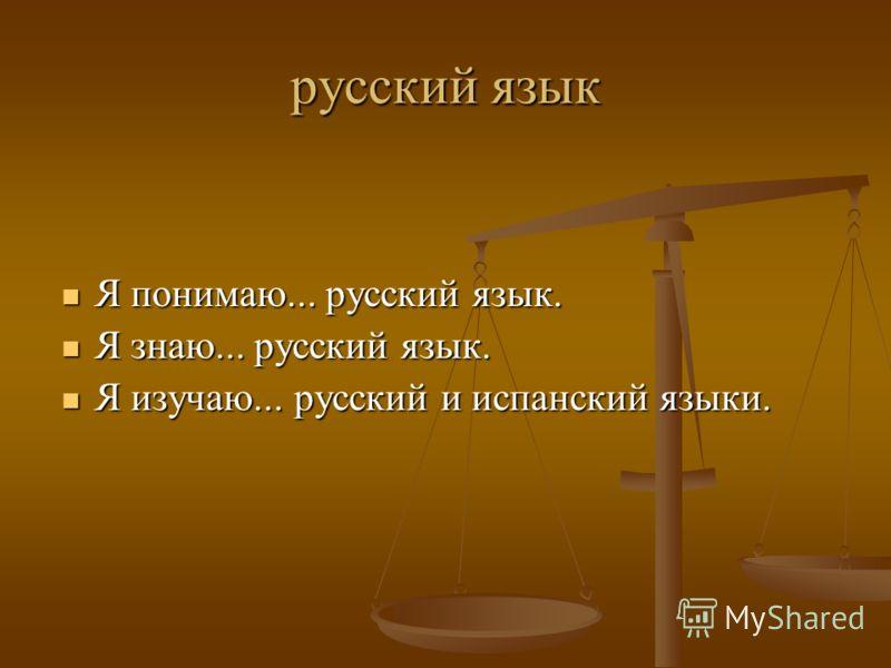 русский язык Я понимаю... русский язык. Я понимаю... русский язык. Я знаю... русский язык. Я знаю... русский язык. Я изучаю... русский и испанский языки. Я изучаю... русский и испанский языки.