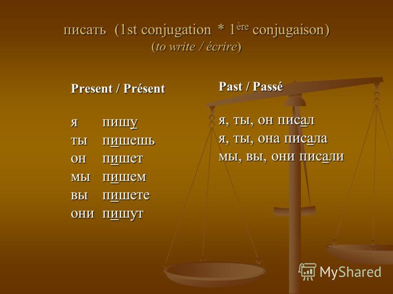 писать (1st conjugation * 1 ère conjugaison) (to write / écrire) Present / Présent я пишу ты пишешь он пишет мы пишем вы пишете они пишут Past / Passé я, ты, он писал я, ты, она писала мы, вы, они писали