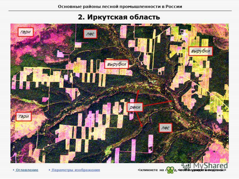 Основные районы лесной промышленности в России 2. Иркутская область Оглавление Оглавление Параметры изображения вырубки лес гари вырубки лес реки