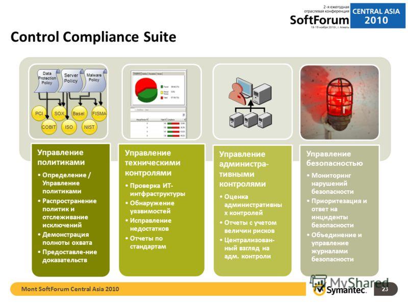 23 Control Compliance Suite Управление политиками Определение / Управление политиками Распространение политик и отслеживание исключений Демонстрация полноты охвата Предоставле-ние доказательств Управление техническими контролями Проверка ИТ- интфраст