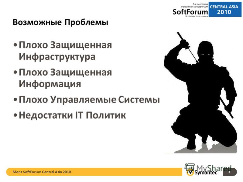 Возможные Проблемы Плохо Защищенная Инфраструктура Плохо Защищенная Информация Плохо Управляемые Системы Недостатки IT Политик Mont SoftForum Central Asia 2010 4