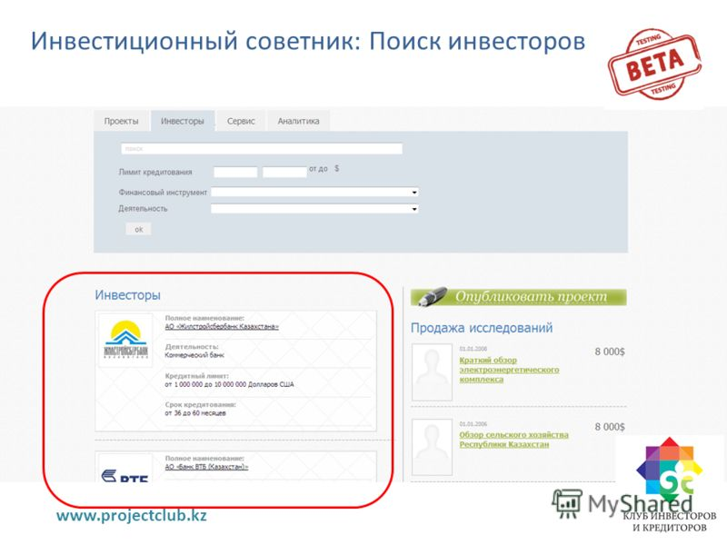 Инвестиционный советник: Поиск инвесторов www.projectclub.kz