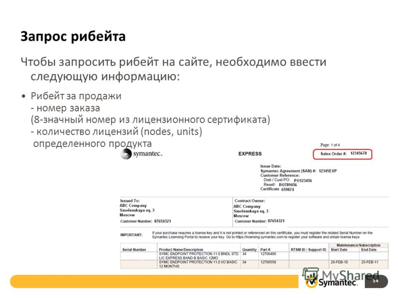 Запрос рибейта Чтобы запросить рибейт на сайте, необходимо ввести следующую информацию: Рибейт за продажи - номер заказа (8-значный номер из лицензионного сертификата) - количество лицензий (nodes, units) определенного продукта 14