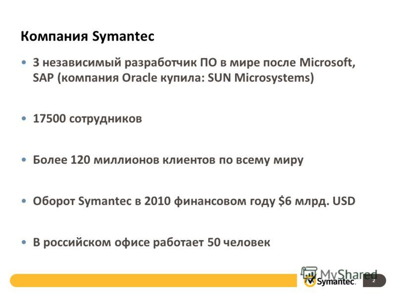 Компания Symantec 3 независимый разработчик ПО в мире после Microsoft, SAP (компания Oracle купила: SUN Microsystems) 17500 сотрудников Более 120 миллионов клиентов по всему миру Оборот Symantec в 2010 финансовом году $6 млрд. USD В российском офисе