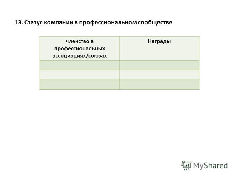 13. Статус компании в профессиональном сообществе членство в профессиональных ассоциациях/союзах Награды
