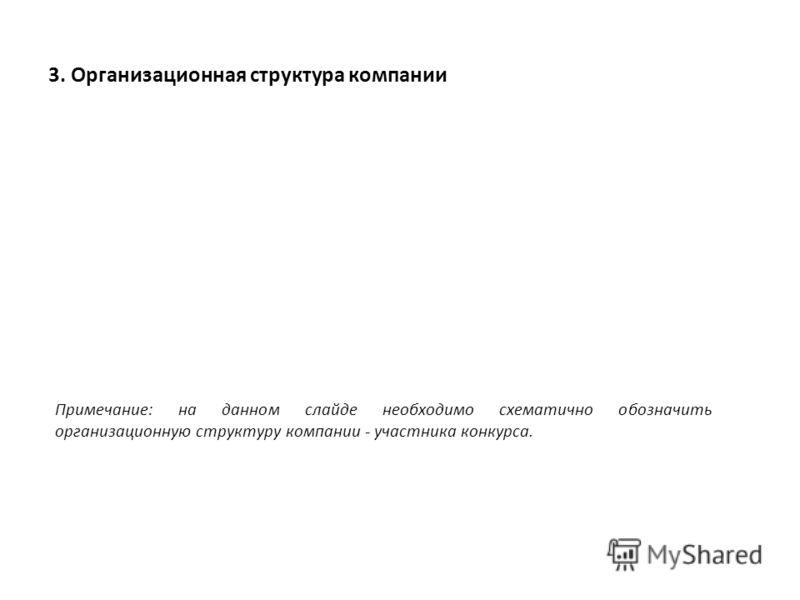 3. Организационная структура компании Примечание: на данном слайде необходимо схематично обозначить организационную структуру компании - участника конкурса.