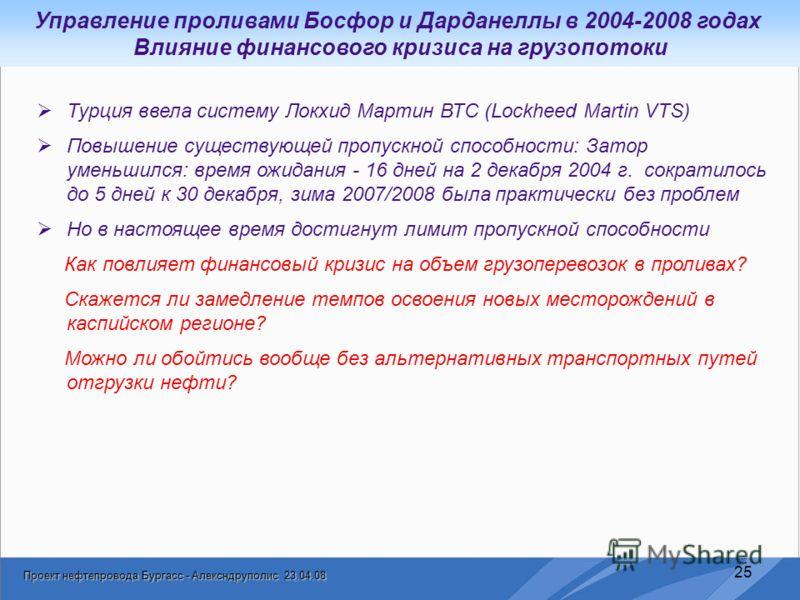 Проект нефтепровода Бургасс - Алексндруполис 23.04.08 25 Турция ввела систему Локхид Мартин ВТС (Lockheed Martin VTS) Повышение существующей пропускной способности: Затор уменьшился: время ожидания - 16 дней на 2 декабря 2004 г. сократилось до 5 дней