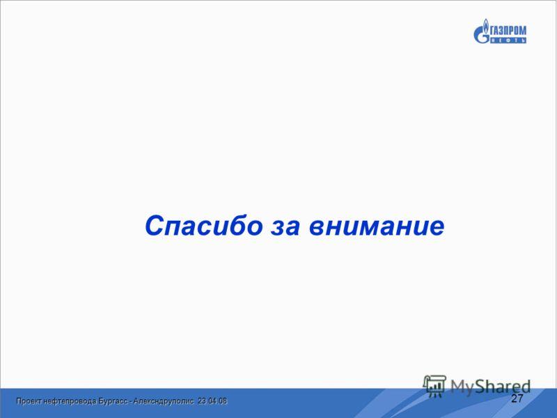 Проект нефтепровода Бургасс - Алексндруполис 23.04.08 27 Спасибо за внимание