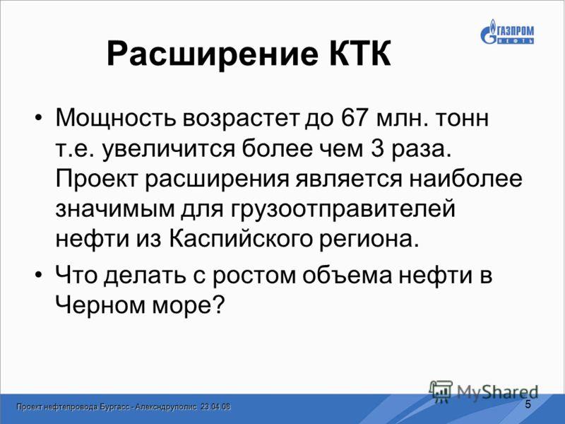 Проект нефтепровода Бургасс - Алексндруполис 23.04.08 5 Расширение КТК Мощность возрастет до 67 млн. тонн т.е. увеличится более чем 3 раза. Проект расширения является наиболее значимым для грузоотправителей нефти из Каспийского региона. Что делать с