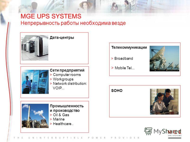 www.mgeups.com Availability (Готовность) Flexibility (Гибкость) TCO (Общая стоимость владения) MGE UPS SYSTEMS Непрерывность бизнес-процессов