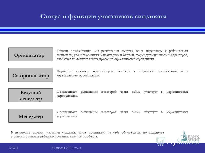 МФЦ 24 июня 2003 года Статус и функции участников синдиката Организатор Готовит документацию для регистрации выпуска, ведёт переговоры с рейтинговым агентством, уполномоченным депозитарием и биржей, формирует синдикат андеррайтеров, назначает платёжн