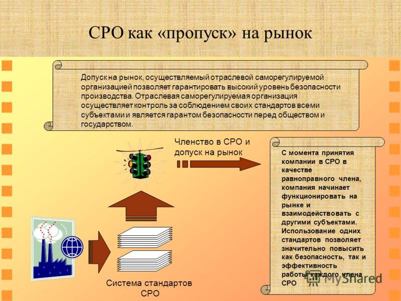 Допуск на рынок, осуществляемый отраслевой саморегулируемой организацией позволяет гарантировать высокий уровень безопасности производства. Отраслевая саморегулируемая организация осуществляет контроль за соблюдением своих стандартов всеми субъектами