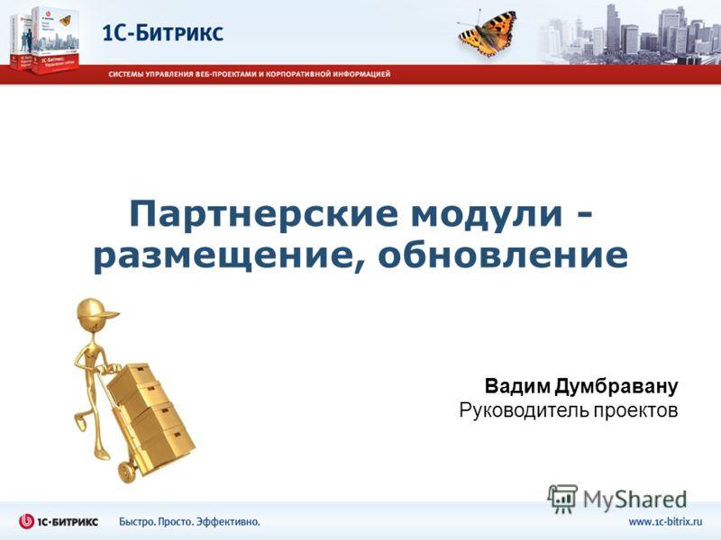 Партнерские модули - размещение, обновление Вадим Думбравану Руководитель проектов