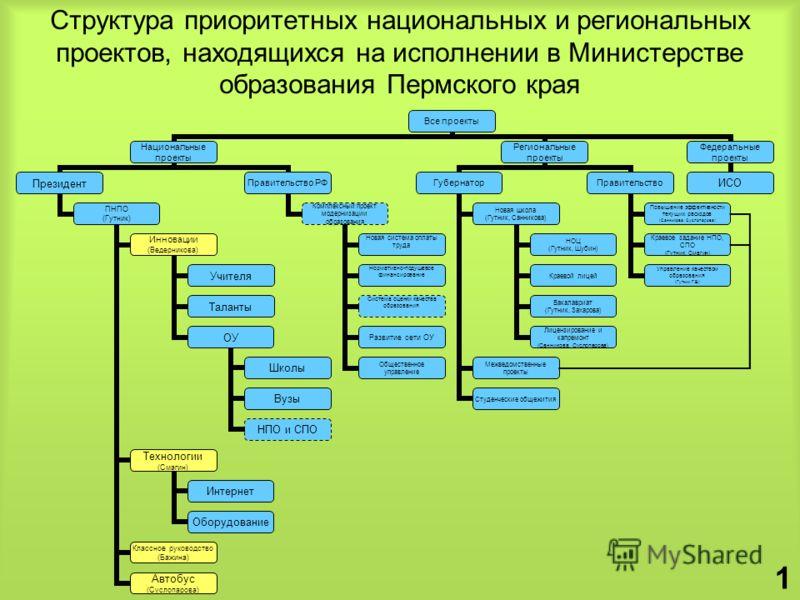 Структура приоритетных национальных и региональных проектов, находящихся на исполнении в Министерстве образования Пермского края 1