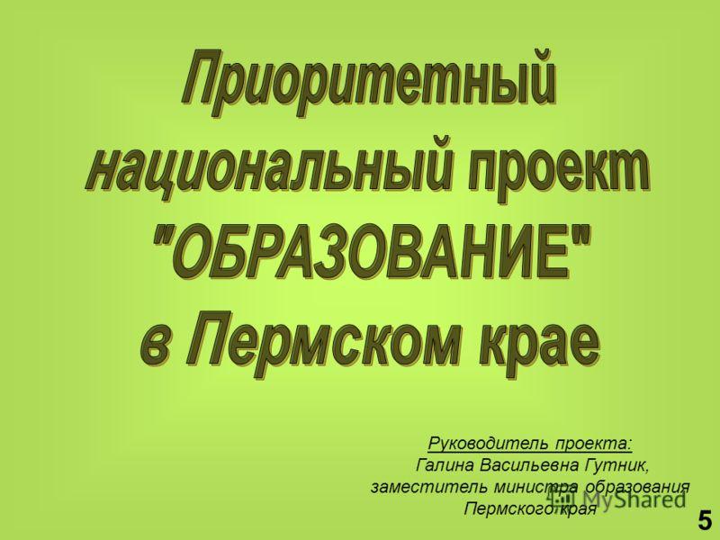 Руководитель проекта: Галина Васильевна Гутник, заместитель министра образования Пермского края 5