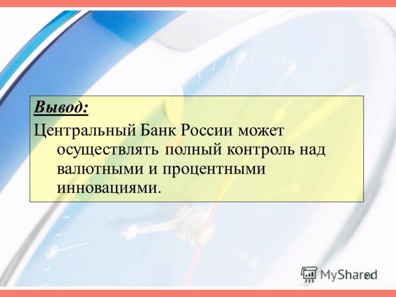 24 Вывод: Центральный Банк России может осуществлять полный контроль над валютными и процентными инновациями.