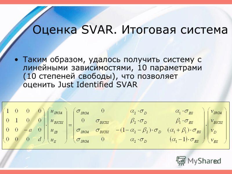 32 Оценка SVAR. Итоговая система Таким образом, удалось получить систему с линейными зависимостями, 10 параметрами (10 степеней свободы), что позволяет оценить Just Identified SVAR