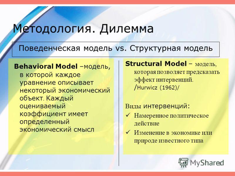 6 Методология. Дилемма Поведенческая модель vs. Структурная модель Behavioral Model –модель, в которой каждое уравнение описывает некоторый экономический объект. Каждый оцениваемый коэффициент имеет определенный экономический смысл Structural Model –