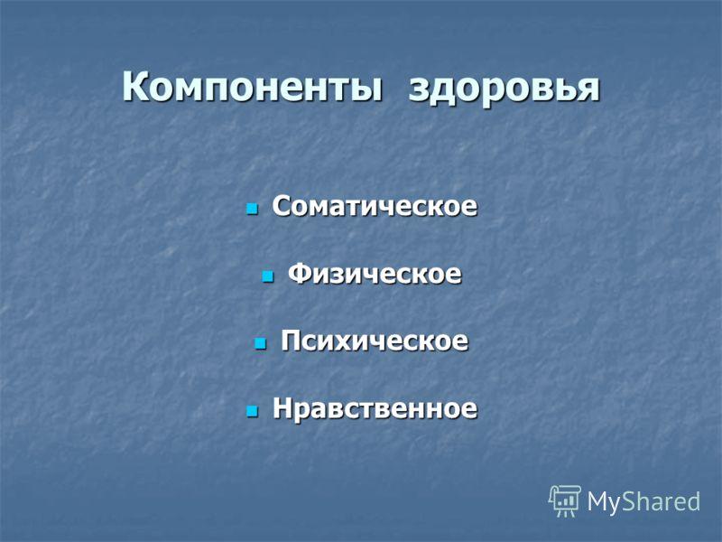 Компоненты здоровья Соматическое Соматическое Физическое Физическое Психическое Психическое Нравственное Нравственное