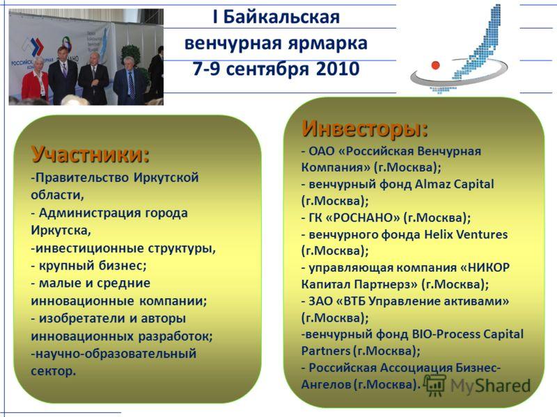 Участники: -Правительство Иркутской области, - Администрация города Иркутска, -инвестиционные структуры, - крупный бизнес; - малые и средние инновационные компании; - изобретатели и авторы инновационных разработок; -научно-образовательный сектор. I Б