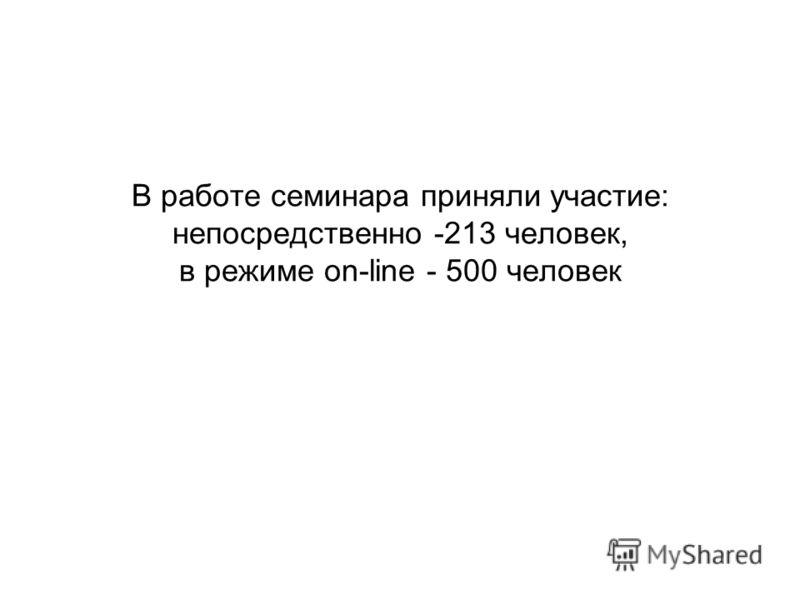 В работе семинара приняли участие: непосредственно -213 человек, в режиме on-line - 500 человек