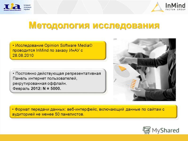 Методология исследования Исследование Opinion Software Media© проводится InMind по заказу ИнАУ с 28.08.2010 Постоянно действующая репрезентативная Панель интернет пользователей, рекрутированная оффлайн. Февраль 2012: N = 5000. Формат передачи данных: