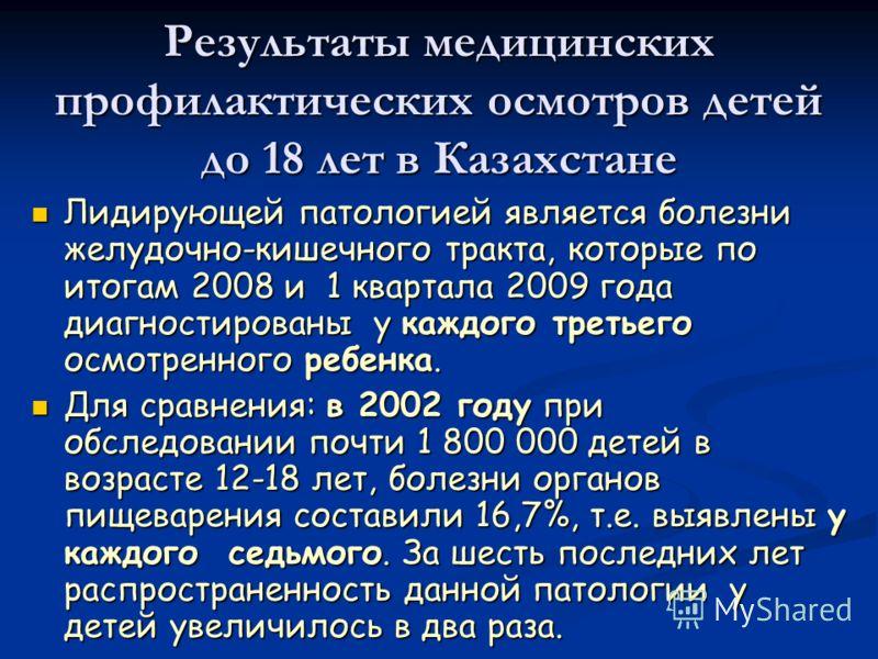Результаты медицинских профилактических осмотров детей до 18 лет в Казахстане Лидирующей патологией является болезни желудочно-кишечного тракта, которые по итогам 2008 и 1 квартала 2009 года диагностированы у каждого третьего осмотренного ребенка. Ли