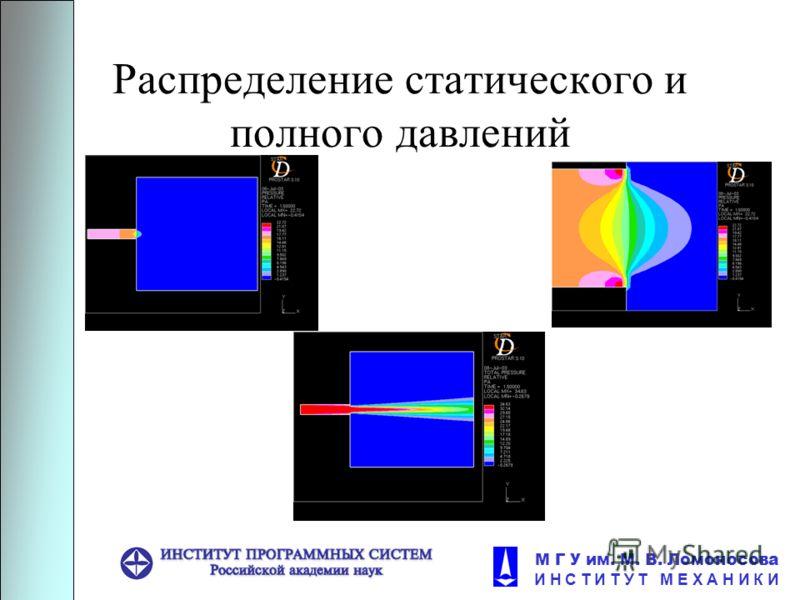 М Г У им. М. В. Ломоносова И Н С Т И Т У Т М Е Х А Н И К И Распределение статического и полного давлений