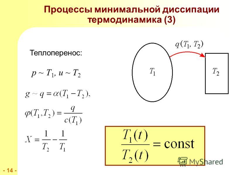 - 14 - Процессы минимальной диссипации термодинамика (3) Теплоперенос: p ~ T 1, u ~ T 2