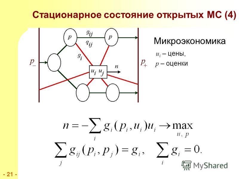 - 21 - Стационарное состояние открытых МС (4) Микроэкономика u i – цены, p – оценки