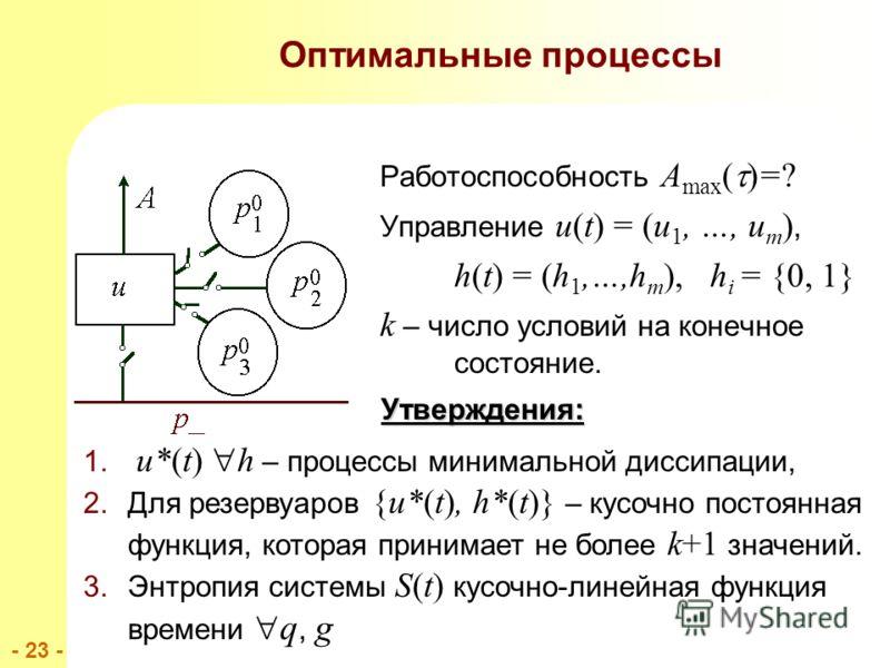 - 23 - Оптимальные процессы Работоспособность A max ( )=? Управление u(t) = (u 1, …, u m ), h(t) = (h 1,…,h m ), h i = {0, 1} k – число условий на конечное состояние. Утверждения: 1.. u*(t) h – процессы минимальной диссипации, 2.Для резервуаров {u*(t