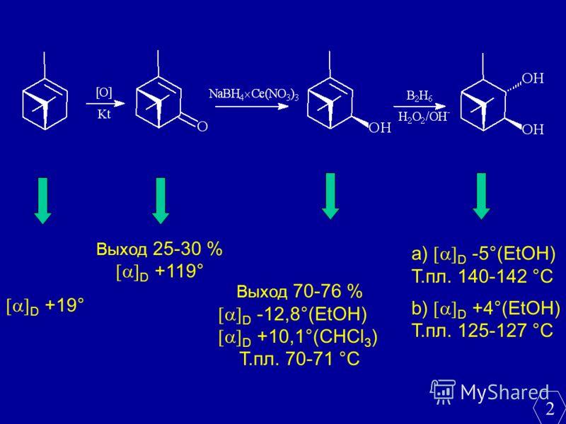 D +19° Выход 25-30 % D +119° Выход 70-76 % D -12,8°(EtOH) D +10,1°(CHCl 3 ) Т.пл. 70-71 °С а) D -5°(EtOH) Т.пл. 140-142 °С b) D +4°(EtOH) Т.пл. 125-127 °С 2
