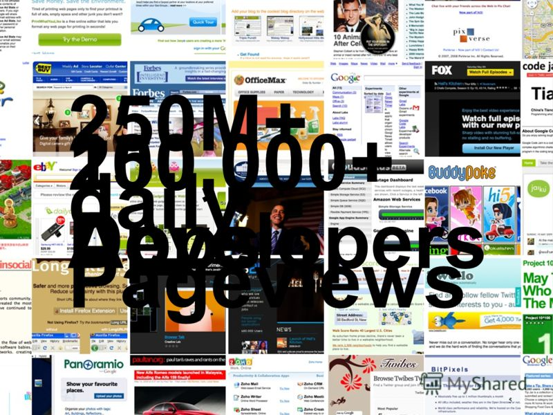By the numbers 5 250M+ daily Pageviews 250,000+ Developers 100,000+ Apps 5