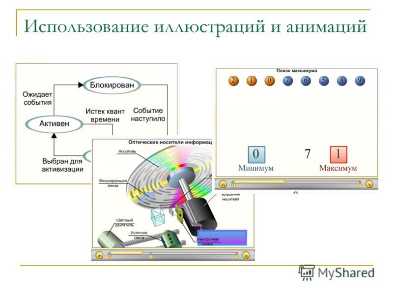 Использование иллюстраций и анимаций