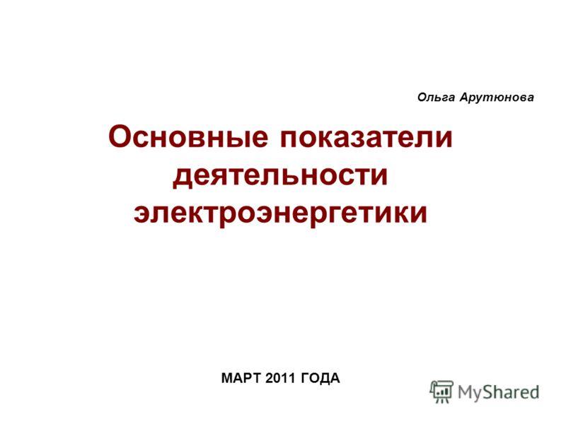 МАРТ 2011 ГОДА Основные показатели деятельности электроэнергетики Ольга Арутюнова