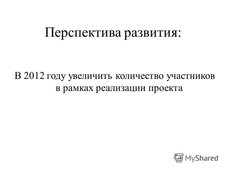 Перспектива развития: В 2012 году увеличить количество участников в рамках реализации проекта