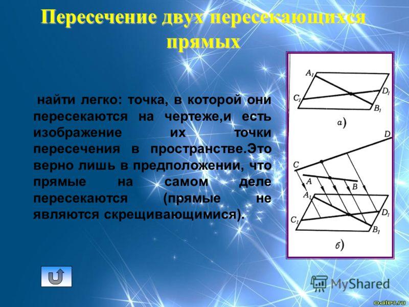 Пересечение двух пересекающихся прямых найти легко: точка, в которой они пересекаются на чертеже,и есть изображение их точки пересечения в пространстве.Это верно лишь в предположении, что прямые на самом деле пересекаются (прямые не являются скрещива