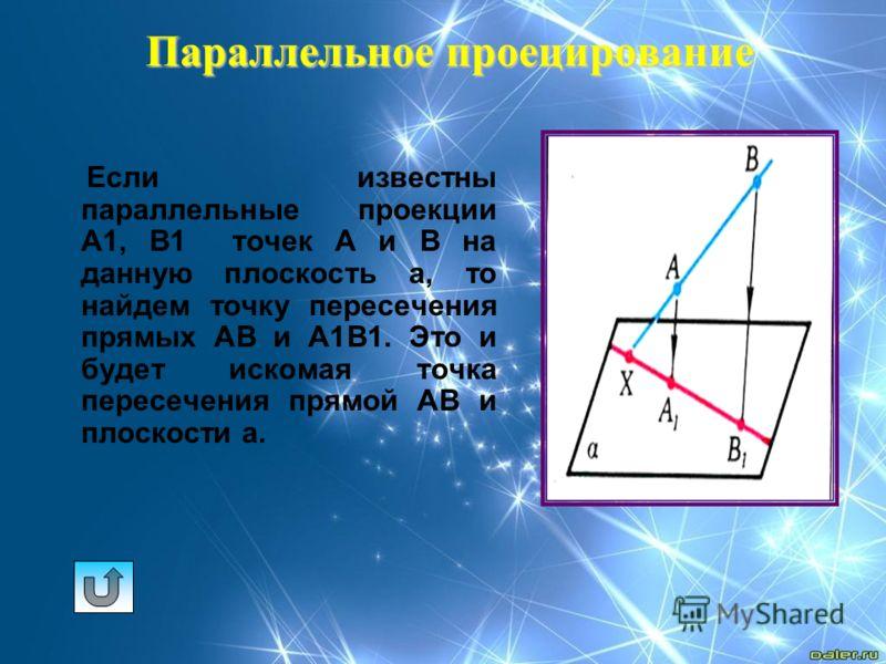 Параллельное проецирование Если известны параллельные проекции А1, В1 точек А и В на данную плоскость а, то найдем точку пересечения прямых АВ и А1В1. Это и будет искомая точка пересечения прямой АВ и плоскости а.