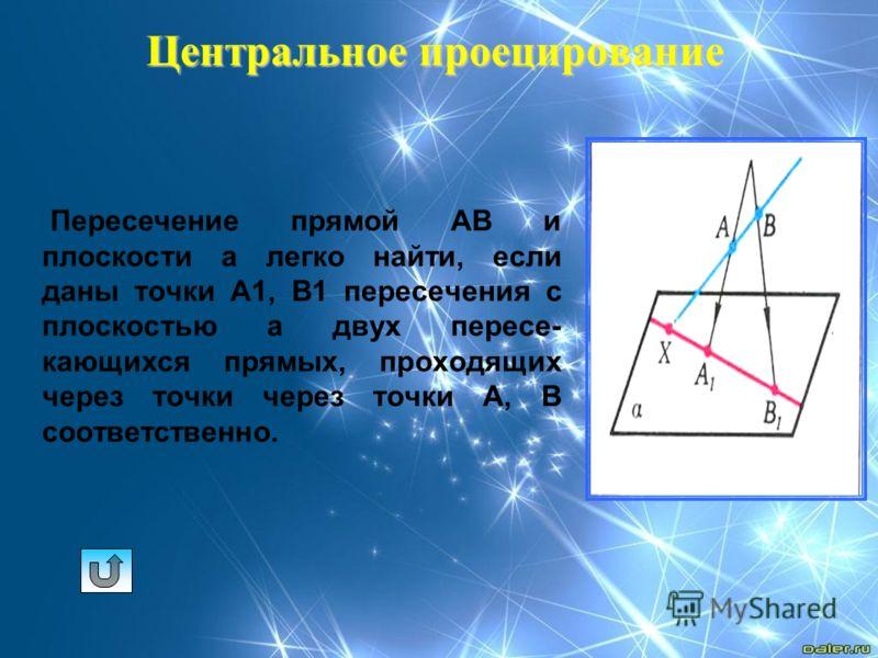 Центральное проецирование Пересечение прямой АВ и плоскости а легко найти, если даны точки А1, В1 пересечения с плоскостью а двух пересе- кающихся прямых, проходящих через точки через точки А, В соответственно.