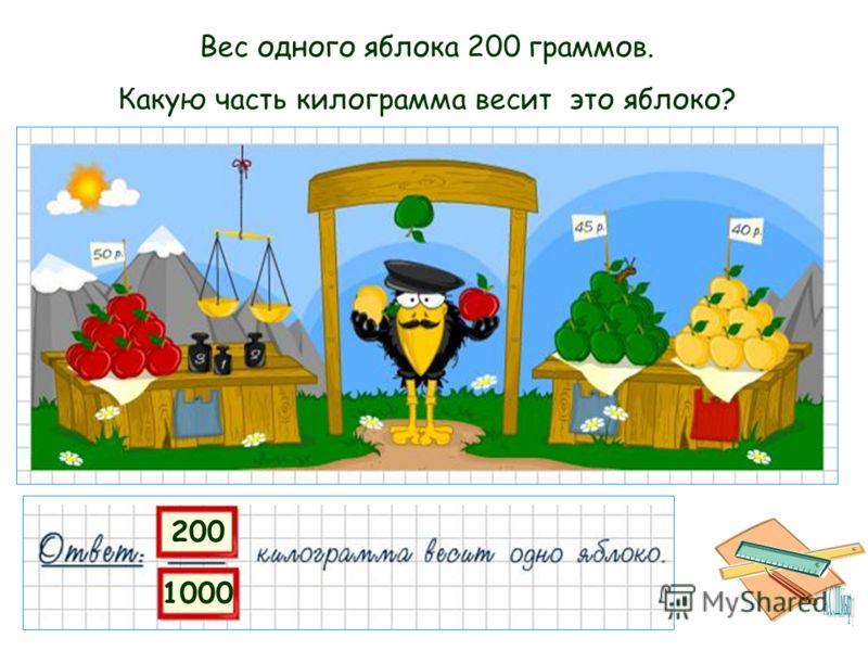200 1000 Вес одного яблока 200 граммов. Какую часть килограмма весит это яблоко?