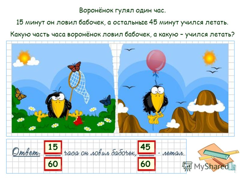 15 60 45 60 Воронёнок гулял один час. 15 минут он ловил бабочек, а остальные 45 минут учился летать. Какую часть часа воронёнок ловил бабочек, а какую – учился летать?