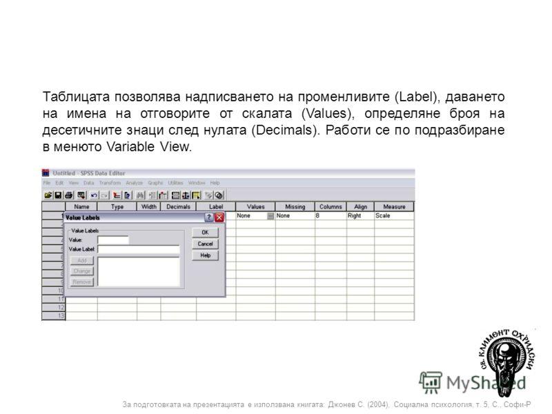 За подготовката на презентацията е използвана книгата: Джонев С. (2004), Социална психология, т. 5, С., Софи-Р Таблицата позволява надписването на променливите (Label), даването на имена на отговорите от скалата (Values), определяне броя на десетични