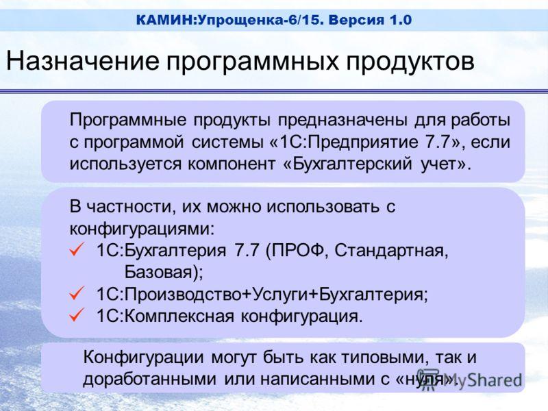 КАМИН:Упрощенка-6/15. Версия 1.0 Программные продукты предназначены для работы с программой системы «1С:Предприятие 7.7», если используется компонент «Бухгалтерский учет». В частности, их можно использовать с конфигурациями: [ 1С:Бухгалтерия 7.7 (ПРО