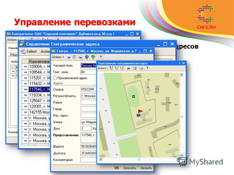 Управление перевозками Ведение базы данных географических адресов