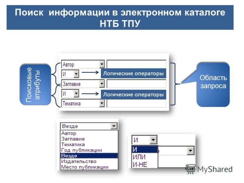 Поиск информации в электронном каталоге НТБ ТПУ Область запроса Поисковые атрибуты Логические операторы