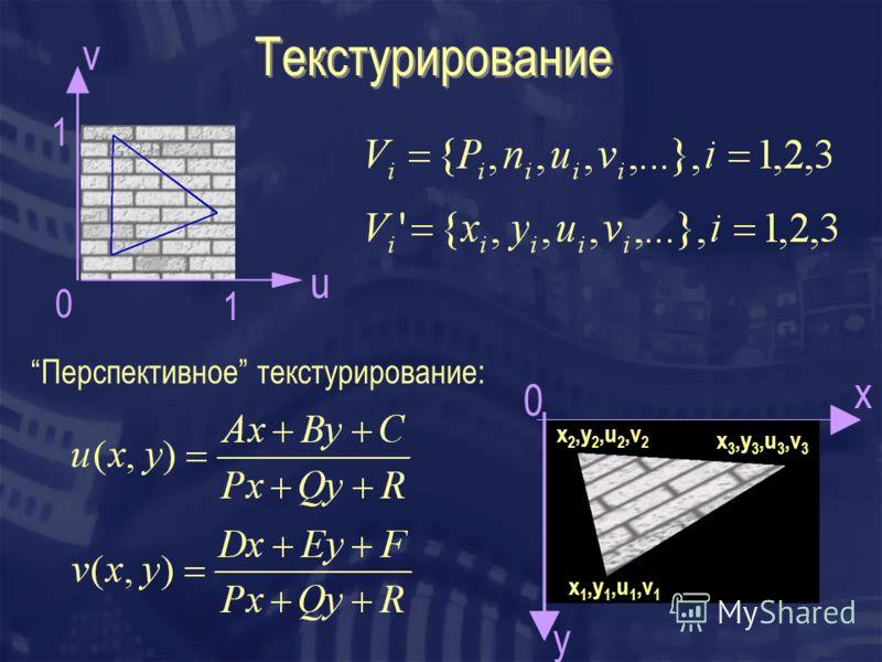 Текстурирование u v 0 x y 0 Перспективное текстурирование: 1 1 x 1,y 1,u 1,v 1 x 2,y 2,u 2,v 2 x 3,y 3,u 3,v 3