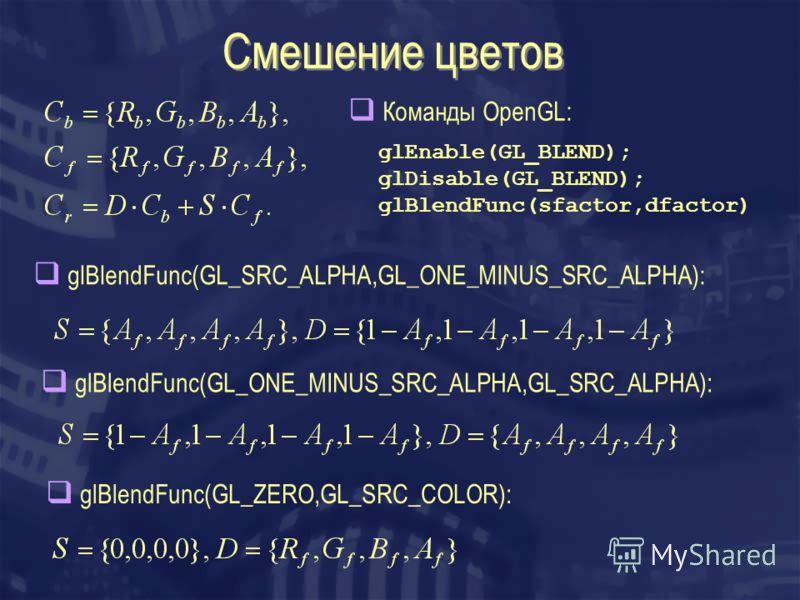 Смешение цветов glEnable(GL_BLEND); glDisable(GL_BLEND); glBlendFunc(sfactor,dfactor) Команды OpenGL: glBlendFunc(GL_SRC_ALPHA,GL_ONE_MINUS_SRC_ALPHA): glBlendFunc(GL_ONE_MINUS_SRC_ALPHA,GL_SRC_ALPHA): glBlendFunc(GL_ZERO,GL_SRC_COLOR):